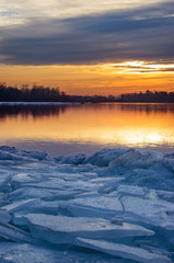 Sunset on the icy shore.