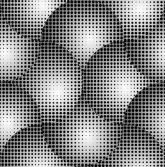 Crossed Circles 3D Halftone Abstract Vector Seamless Pattern.