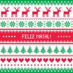 Feliz natal card - scandynavian christmas pattern