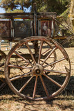 Painting antique wooden cart with big wheels on harvest.