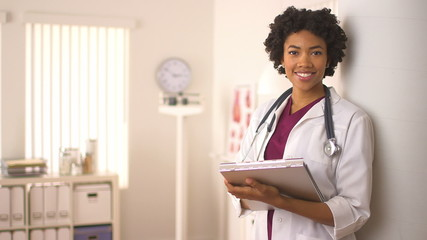 Female African American doctor smiling