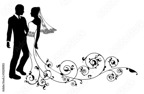 Wedding couple bride and groom silhouette