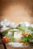 Christmas Decoration Over Wooden Background.