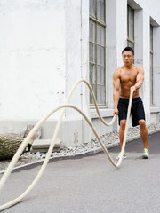 Working out with training ropes