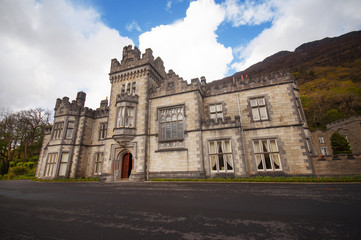 Kylemore Abbey in Connemara mountains in Ireland