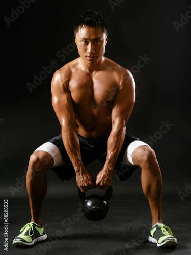 Squats with kettlebell