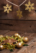 Christmas composition with linden blossom on old wooden table