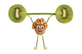 Fototapety Healthy eating. Funny little people of the walnut raises kiwi ba