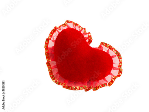 red velvet heart on a white background