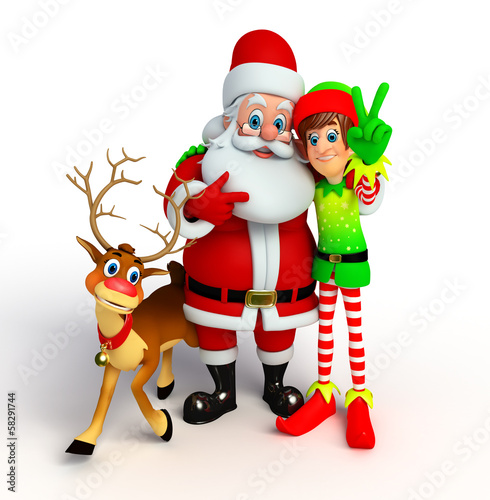 Santa claus with elves and reindeer
