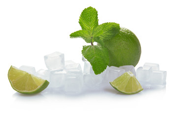 Ice, lime and mint
