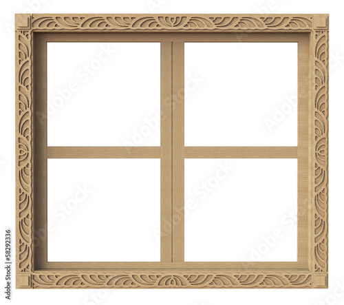 Isolate wooden decorated window