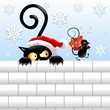 Funny Christmas Black Cat and Mouse-Gatto e Topo Babbo Natale