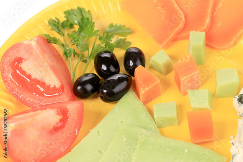 Olives cheese and tomatoes.