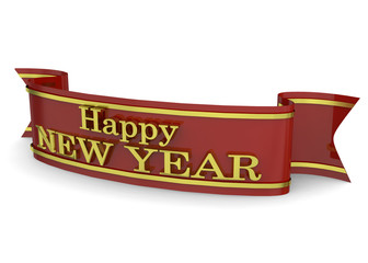 RIBBON HAPPY NEW YEAR - 3D