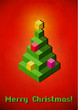 Christmas tree vintage card made of 3D pixels