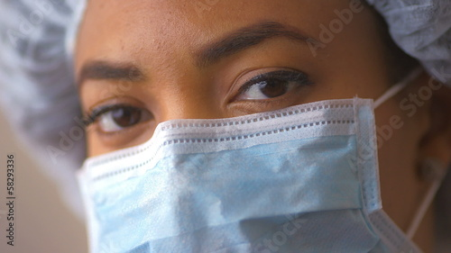 African American doctor in surgical mask