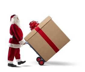 Santa Claus with big Christmas present