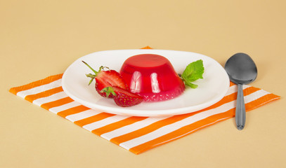 Plate with strawberry jelly