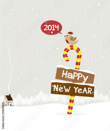 Bird standing on a candy wishing a happy new year