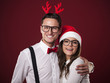 Portrait of lovely couple in christmas time