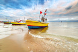 Fototapety Fishing boats on the beach of Baltic Sea in Poland
