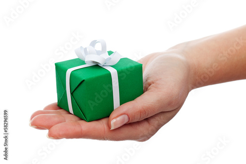 Small gift box in woman hand