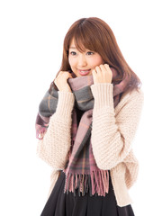 fashionable young asian woman on white background