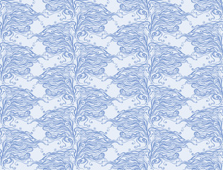 Vector seamless abstract drawn pattern with curls.