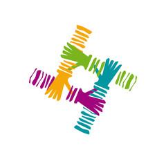 Vector logo teamwork, hands crossed