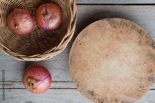 Onion in the basket