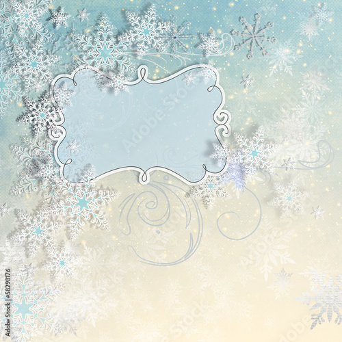 Christmas card with snowflakes and place for text and the frame