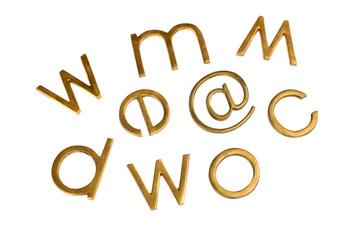 Internet symbols with assorted alphabets