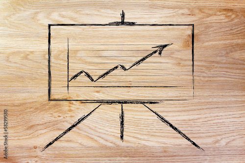 meeting room whiteboard stand with positive stats graph
