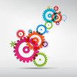 Abstract colorful vector cogs - gears on grey background