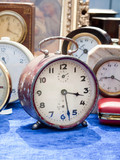 Old clocks at flea market