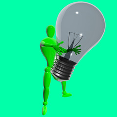 Green man with big bulb isolated 3d rendered