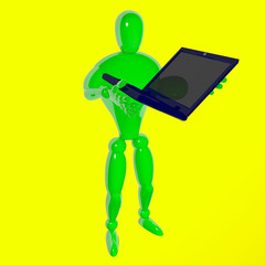 Human giving laptop isolated white