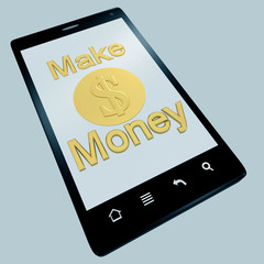 Make money phone isolated on white