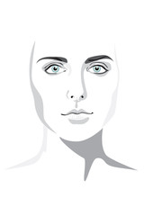 Beautiful woman face hand drawn vector illustration eps