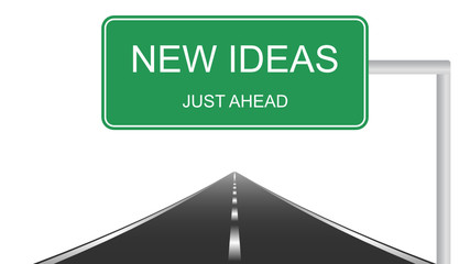New Ideas ahead concept with a green highway sign