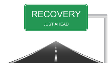 Recovery ahead concept with a green highway sign