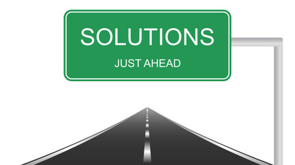 Solutions ahead concept with a green highway sign