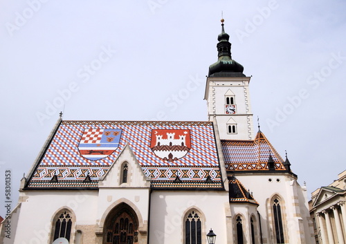 medieval church with mosaic roof, capital of Croatia