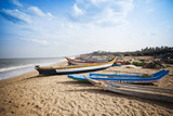 Naklejka Fishing boats on the beach, Pondicherry, India