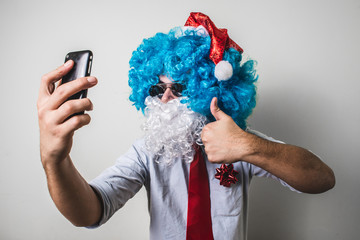 funny santa claus babbo on the phone natale