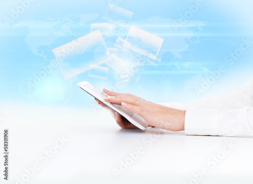 tablet pc business woman