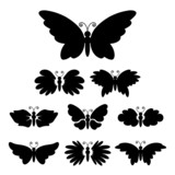 Set of abstract black silhouettes butterflys