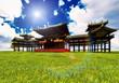 Zen buddhist temple on the grass
