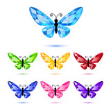 Set of diamond butterflies isolated on white for decoration